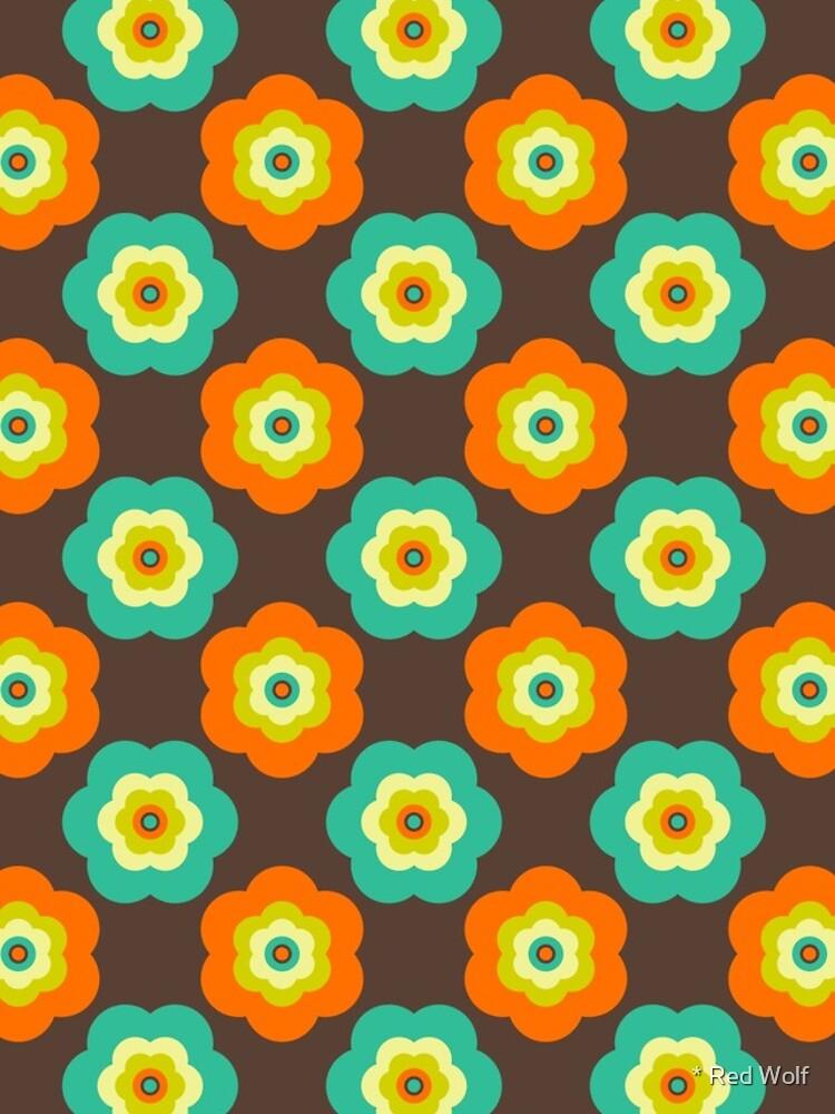 Geometric Pattern: Six Petal Flower: Brown by redwolfoz