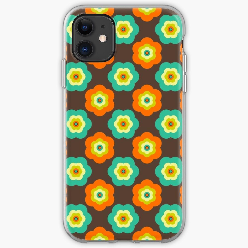 Geometric Pattern: Six Petal Flower: Brown iPhone Case & Cover