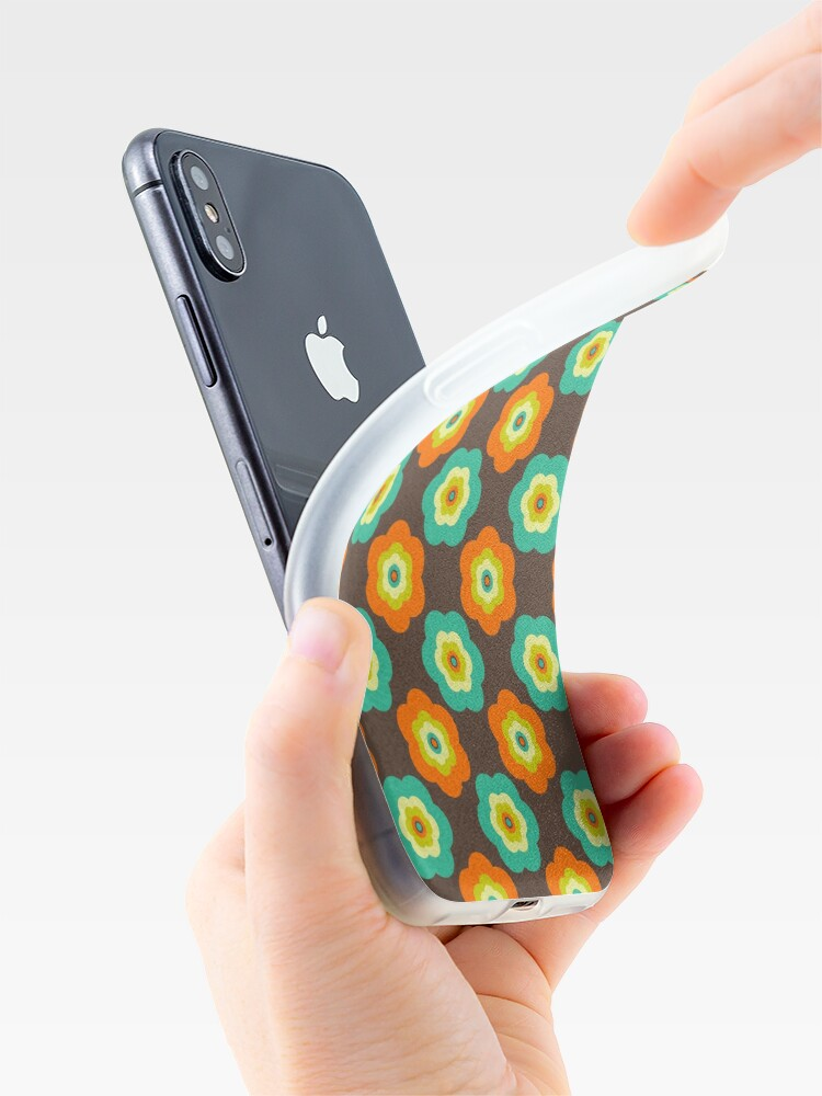 Alternate view of Geometric Pattern: Six Petal Flower: Brown iPhone Case & Cover