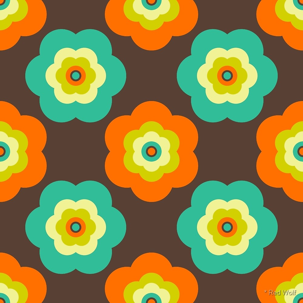 Geometric Pattern: Six Petal Flower: Brown by * Red Wolf