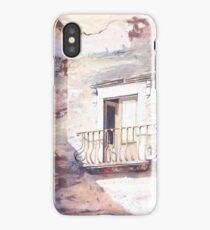 Watercolor painting of exterior door  on Lipari Island- Italy iPhone Case/Skin