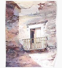 Watercolor painting of exterior door  on Lipari Island- Italy Poster