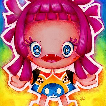 Kawaii Pink Hair Girl Smile by AyaMasuda