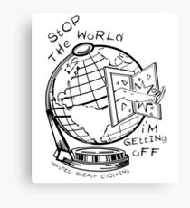 Stop The World - Black Line Small Canvas Print