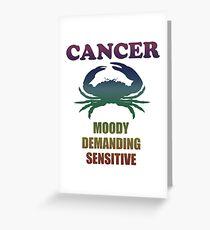 Zodiac Cancer Funny Birthday Design Greeting Card