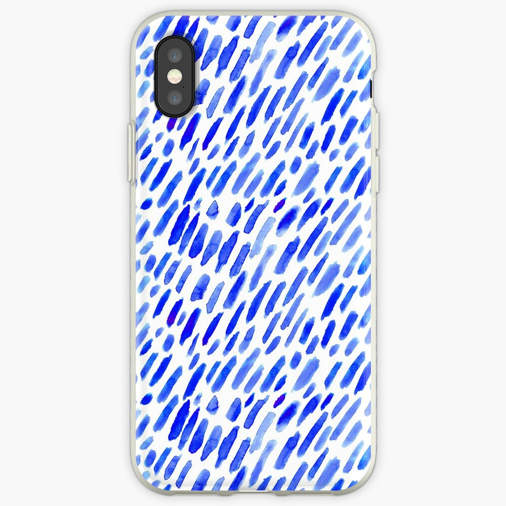 Aquarell blaue Pinselstriche iPhone-Hüllen & Cover