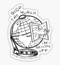 Stop The World - White Line Small Sticker