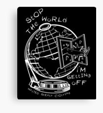 Stop The World - White Line Small Canvas Print
