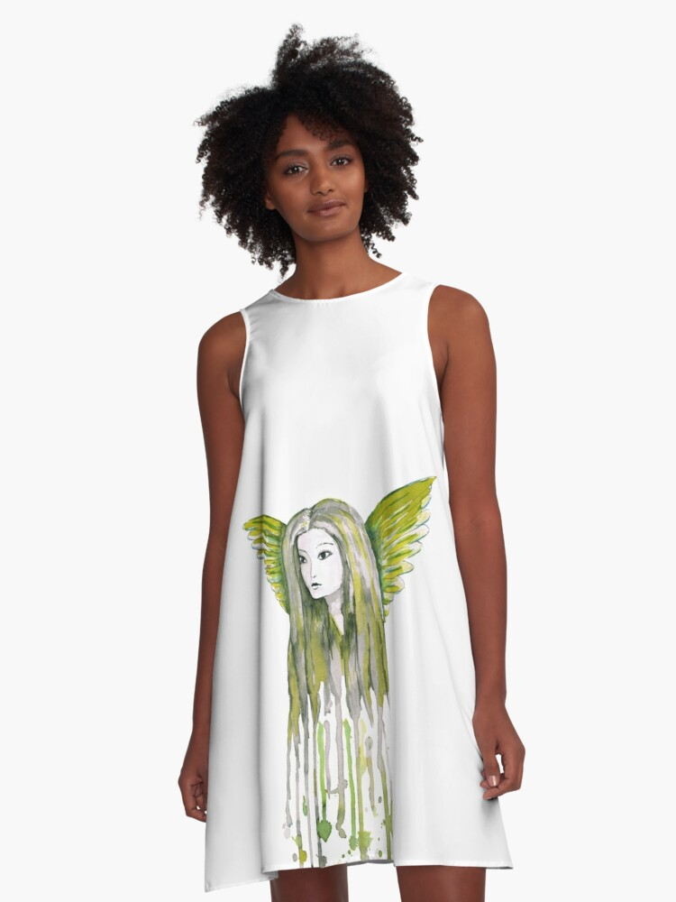 A watercolor of an girl with angel wings  A-Line Dress Front
