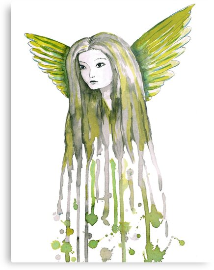 A watercolor of an girl with angel wings  by Bwiselizzy