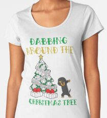 Dachshund dabbing around the Christmas Tree - Funny Gift Women's Premium T-Shirt