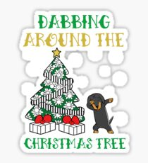 Dachshund dabbing around the Christmas Tree - Funny Gift Sticker