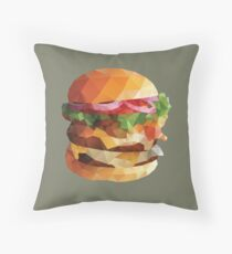 Gourmet Burger Polygon Art Throw Pillow