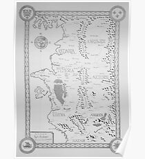 Witcher map (redux) black and white Poster