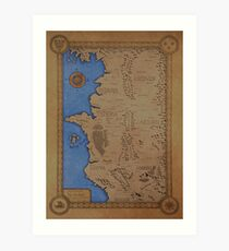 The Witcher world map - Colored Art Print