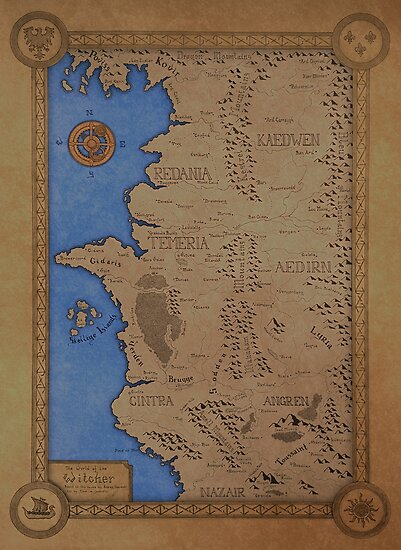 The witcher world map colored posters by dvg94 redbubble the witcher world map colored by dvg94 gumiabroncs Images
