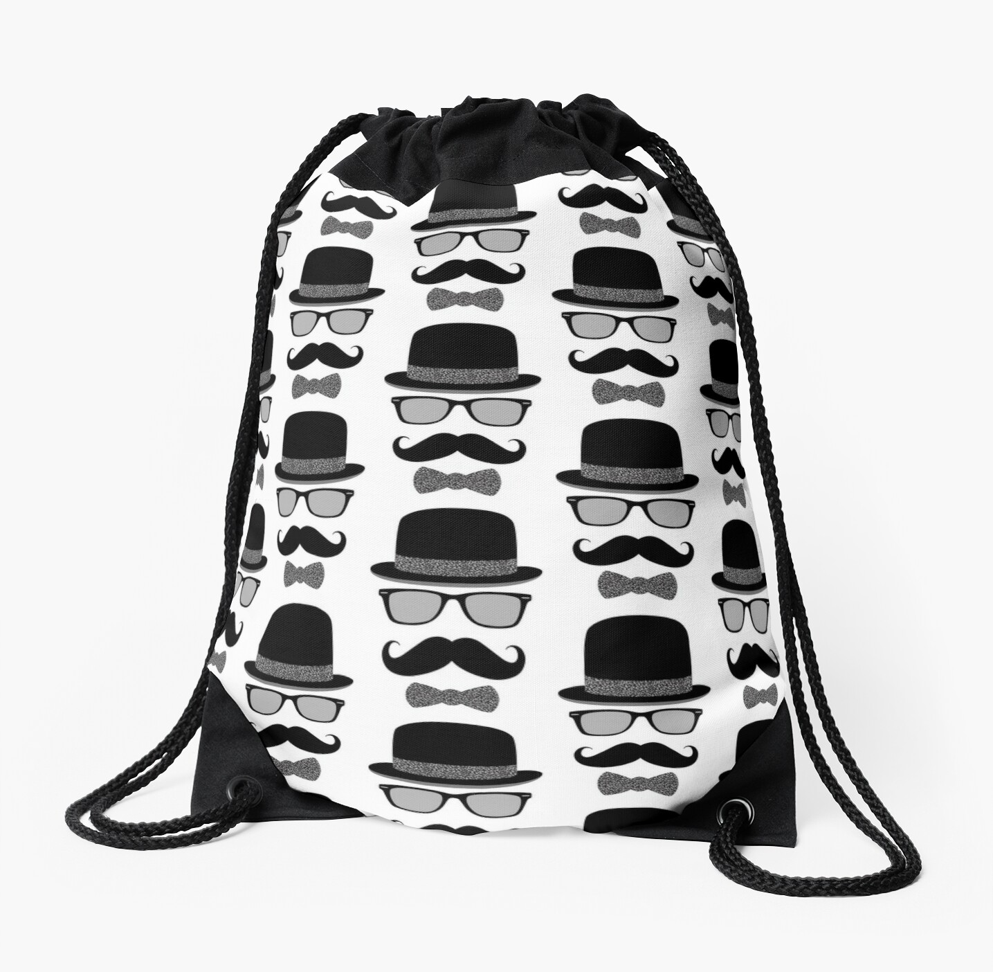 Hipster Man - Bowler Hat Glasses Mustache and Bowtie in Black White Gray by Elsy's Art