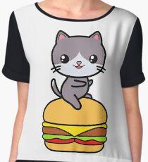 Burger Cat Kawaii Cute Women's Chiffon Top