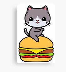 Burger Cat Kawaii Cute Canvas Print