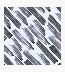 Raw grange flat brush lines seamless pattern om blue background Photographic Print