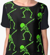Dabbing Skeleton Green Chiffon Top