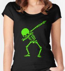 Skeleton Grün abtupfen Tailliertes Rundhals-Shirt