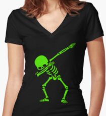 Dabbing Skeleton Green Women's Fitted V-Neck T-Shirt