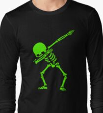 Dabbing Skeleton Green Long Sleeve T-Shirt