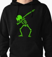 Dabbing Skeleton Green Pullover Hoodie