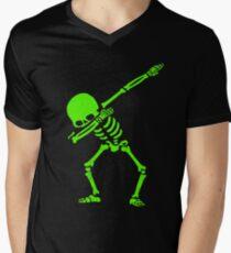 Dabbing Skeleton Green Men's V-Neck T-Shirt