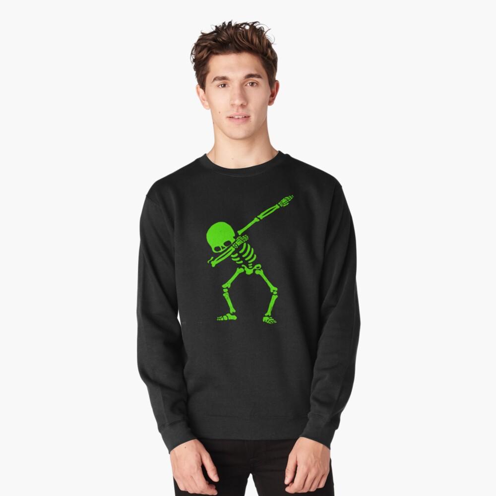 Dabbing Skeleton Green Pullover Sweatshirt