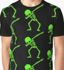 Dabbing Skeleton Green Graphic T-Shirt