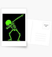 Dabbing Skeleton Green Postcards