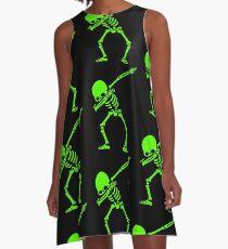 Dabbing Skeleton Green A-Line Dress