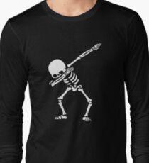 Dabbing Skeleton White Long Sleeve T-Shirt