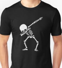 Dabbing Skeleton White Slim Fit T-Shirt