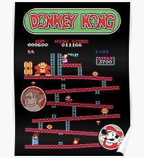 Classic Arcade Game Donkey Kong Featuring Mario Poster