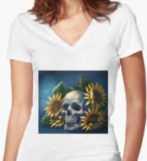 Skull and Sunflowers Fitted V-Neck T-Shirt