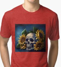 Skull and Sunflowers Tri-blend T-Shirt