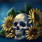 Skull and Sunflowers by FaerytaleWings