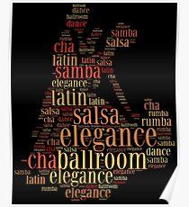 Dancing pair as words cloud design Poster