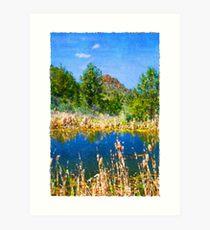Eastern Oregon Mountains and Pond Art Print