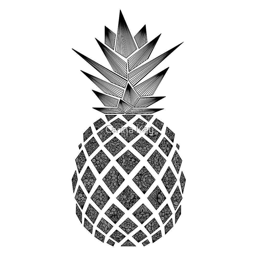 """B&W Zentangle Pineapple "" by Carina Kay | Redbubble"