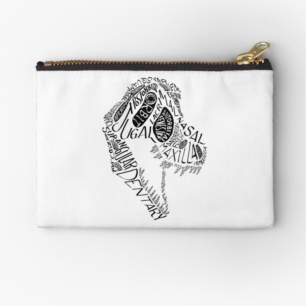 Black Calligram Tyrannosaur Skull Zipper Pouch