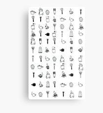 Kitchen utensil patterns Metal Print