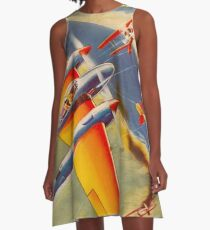 FLYING ACES : Vintage 1939 Wartime Comic Cover Page Print A-Line Dress