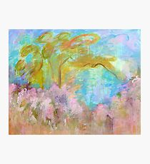 Abstract Landscape Painting, Tree Flowers Photographic Print