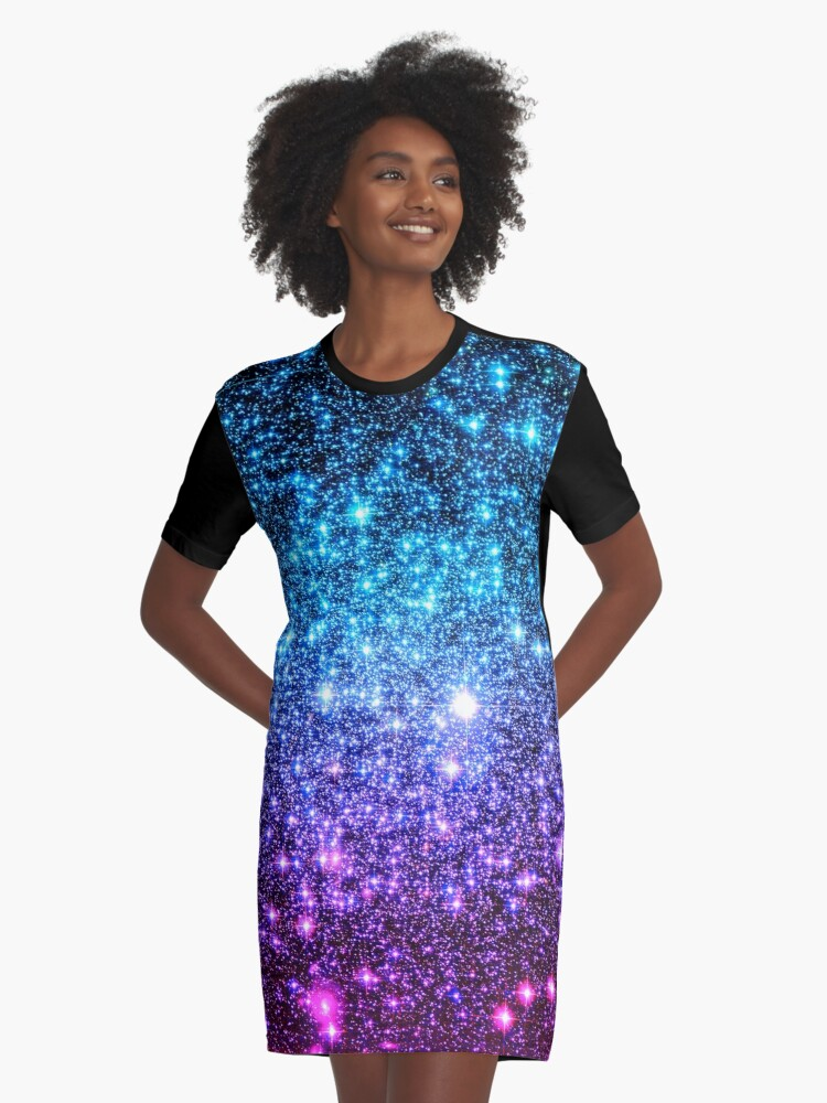 68339c36eb06 Galaxy Sparkle Stars Turquoise Blue Purple Hot Pink Graphic T-Shirt Dress