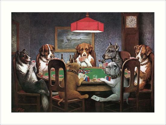 Laminas Artisticas Perros Jugando Al Poker Un Amigo En Necesidad