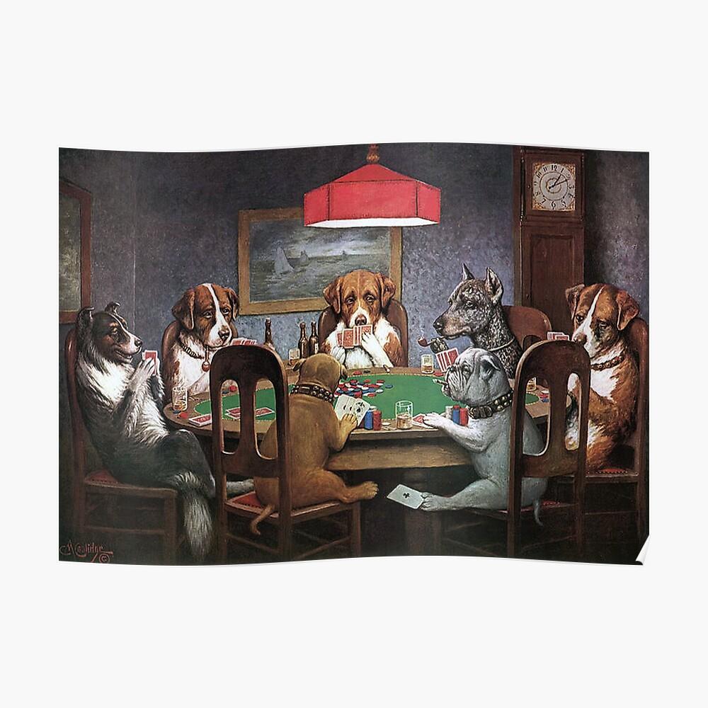 Perros jugando al poker - un amigo en necesidad Póster